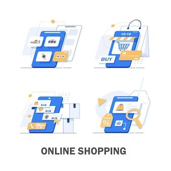 オンラインショップ。デジタルマーケティング、ストア、eコマースショッピングのコンセプト。縞模様の日よけ、フラットなデザインイラスト