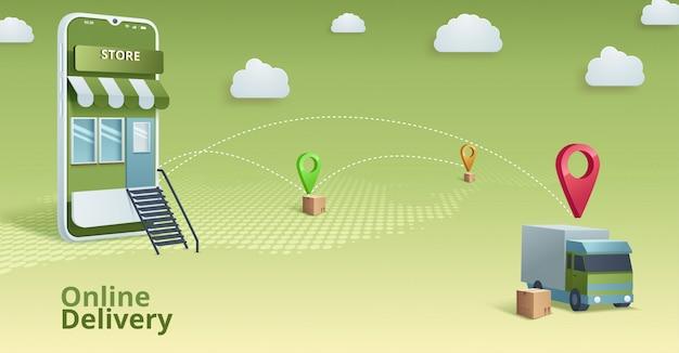 온라인 상점. 디지털 마케팅, 상점, 전자 상거래 쇼핑 개념.