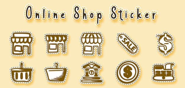 Autoadesivo dell'arte del doodle del negozio online