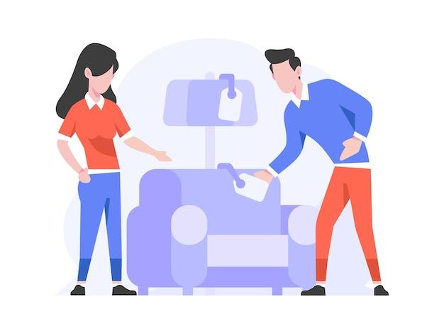 オンラインショップeコマースホームインテリアカテゴリ人々は家具フラットデザインスタイルのイラストを選択します