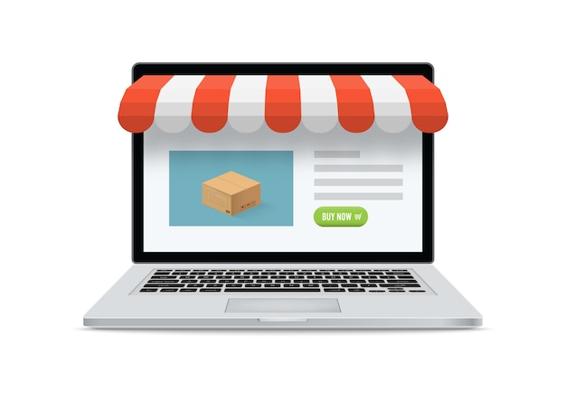 Online shop ecommerce store. laptop with and screen buy. concept online shopping.