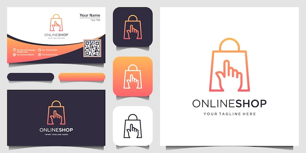 Online shop, finger cursor combined with bag sign logo designs template