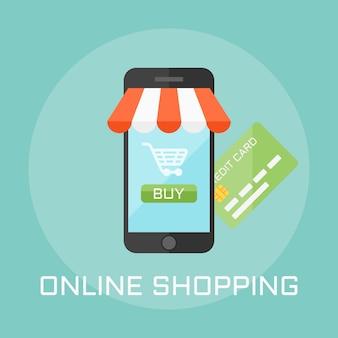 オンラインショップのフラットなデザインスタイルのイラスト、画面上のスマートフォンに商品の支払いボタンが表示されます