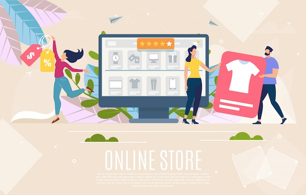 Online shop flat vector landing page template