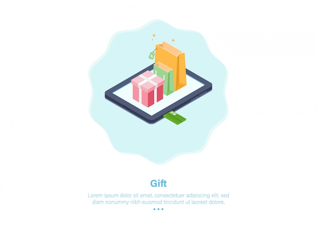 Online shop gift illustration isometric design