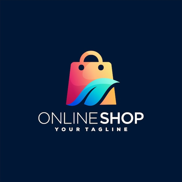 Online shop gradient logo design