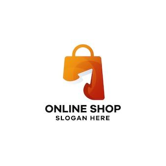 Online shop gradient logo template