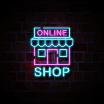 Online shop icon neon style sign illustration