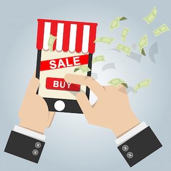 画面を持つモバイルスマートフォン上のオンラインショップのアイコン売買