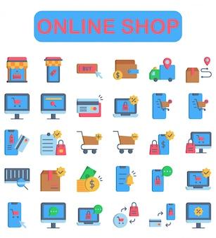 Online shop icons set, flat style