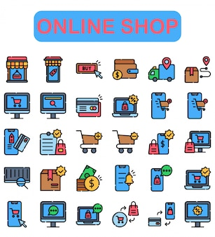 Online shop icons set, lineal color style