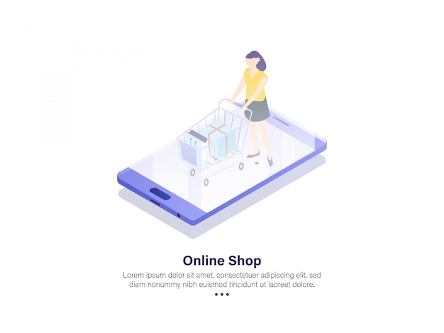 Online shop illustration mobile app isometric