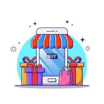 Online shop illustration with smartphone, gift, and shopping bag.
