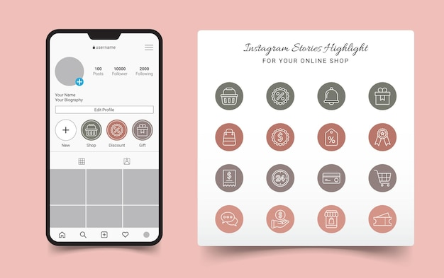 Online shop instagram stories highlight cover