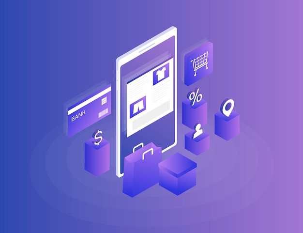 온라인 상점, 인터넷 쇼핑. 아이소 메트릭 이미지 전화, 은행 카드 및 파랑에 쇼핑 가방. 3d. 현대 일러스트