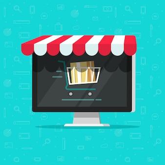 Online shop or internet store as computer  flat cartoon