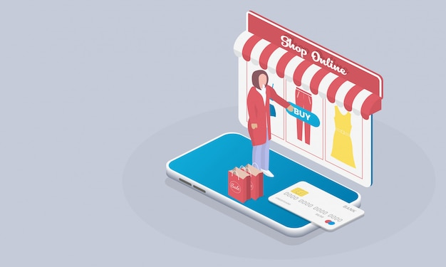 Online shop isometric people shopping