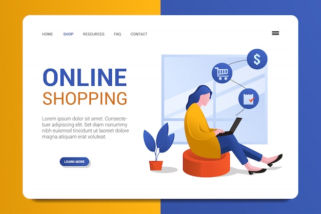 Online shop landing page background vector template