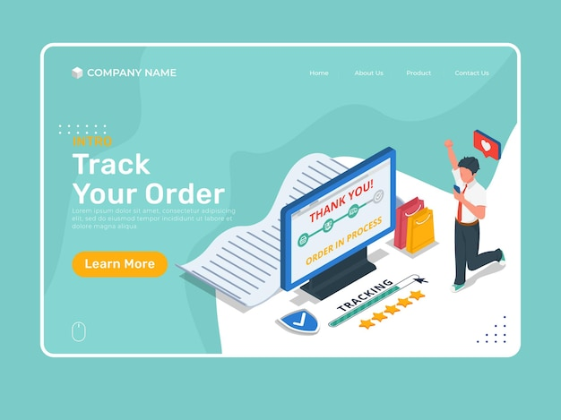 Online shop landing page illustration with a man do order tracking in computer and mobile phone.