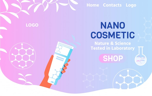 Online shop landing page offer nano cosmetics