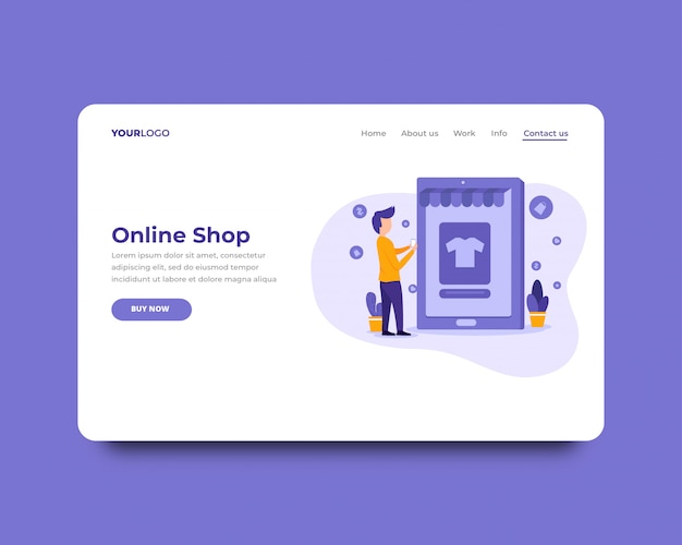 Online shop landing page template