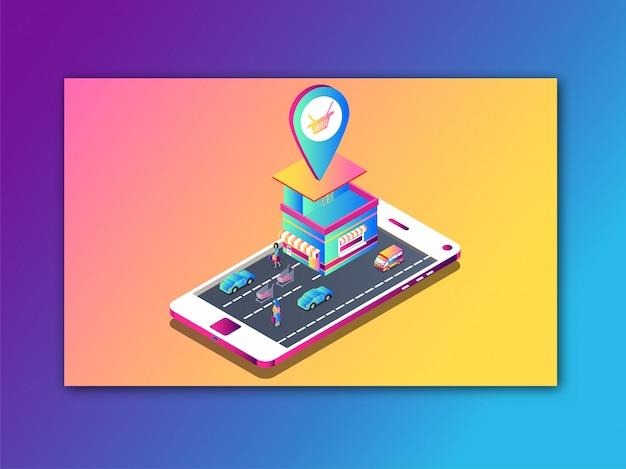 Online shop location app in smartphone isometric