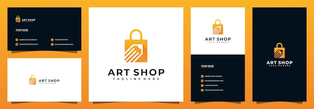 Online shop logo design and business card, with pencil and bag concept