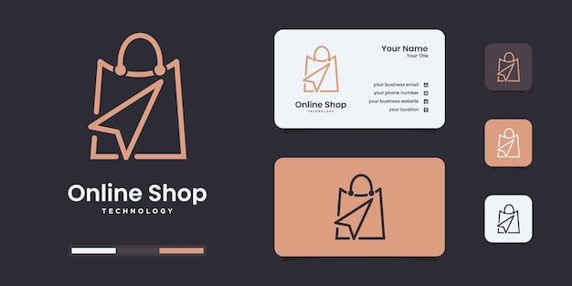 Интернет-магазин дизайн логотипа вдохновение. современный, сумка с логотипом, онлайн, шаблон иллюстрации click.design.