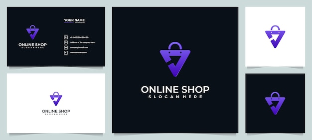 Online shop logo design inspiration with business card