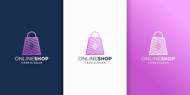 オンラインショップのロゴデザインテンプレート。ショッピングバッグのアイコン
