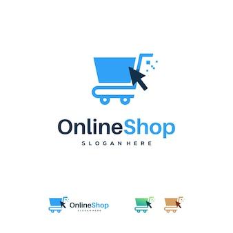 Online shop logo designs template, simple shopping logo