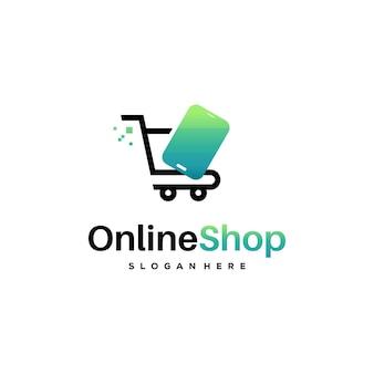 Online shop logo designs template vector, simple shopping logo