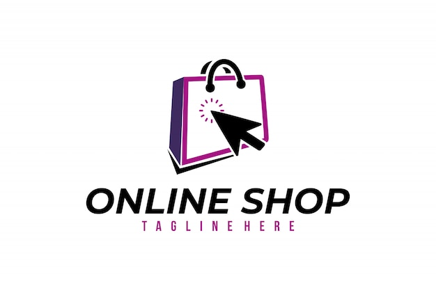 Online shop logo vector isolated design
