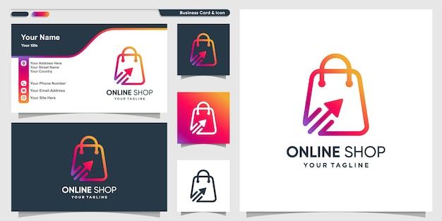멋진 그라데이션 라인 아트 스타일과 명함 디자인 템플릿이있는 온라인 상점 로고
