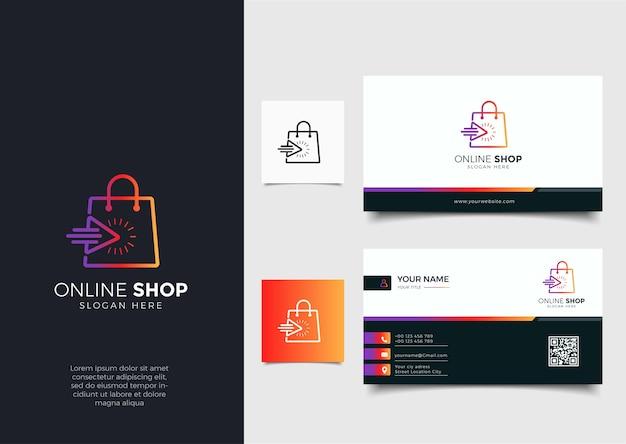 그라디언트 라인 아트 화살표 스타일 및 명함 디자인 템플릿이있는 온라인 상점 로고 프리미엄 벡터
