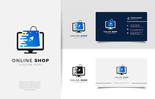 그라디언트 라인 아트 화살표 스타일 및 명함 디자인 템플릿이있는 온라인 상점 로고