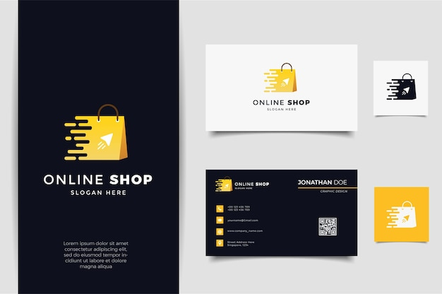 Online shop logo with gradient line art arrow style and business card design template