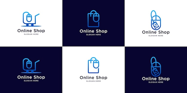 Online shop logo with mouse concept