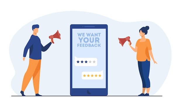 Online shop managers asking clients for feedback. screen, rate, people with megaphone. cartoon illustration