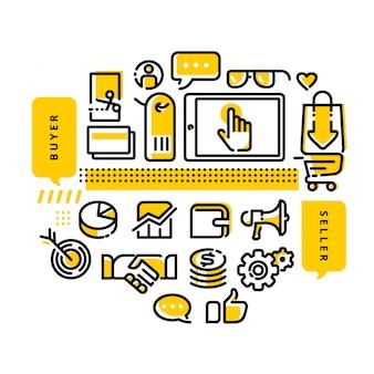 Online shop modern line design illustration