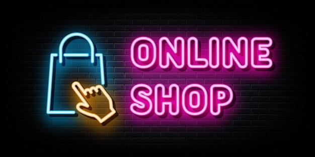Интернет магазин неоновые вывески векторный дизайн шаблона неоновом стиле
