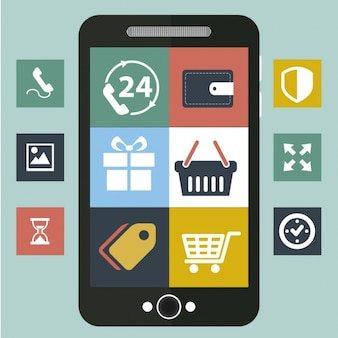 Online shop options on smartphone