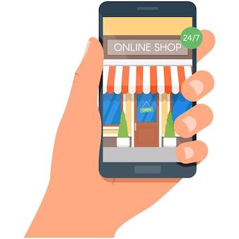 Online shop on phone mobile store vector illustration