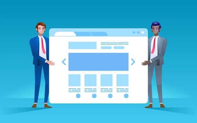 オンラインショップのプレゼンテーション2人の青年実業家がオンラインショップを開くスタートアップのコンセプト