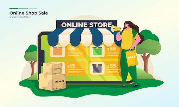 Online shop sale offer illustration concept
