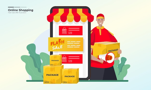 Концепция иллюстрации предложения продажи интернет-магазина