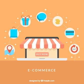 Online shop and shopping icons with flat design