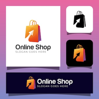Online shop or shopping store logo design with shopping bag