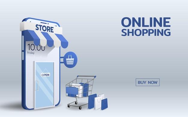 在智能手机手机上的网上商店与堆购物袋和标志说开放垂悬在玻璃门上。连接企业技术概念的全球贸易。
