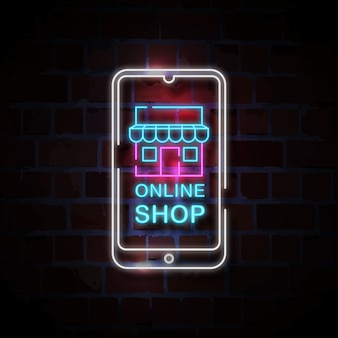 Online shop on smartphone neon style sign illustration